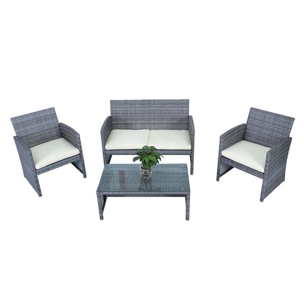 FS 3078 Fully Equipped Cane Double Sofa + Single Sofas + Tea Table + Seat