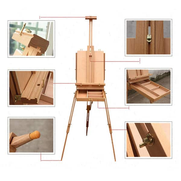 Dhx M Premium Red Beech Wood 50x34 5x150cm Portable Sketch Box Oil Painting Easel On Sale Overstock 14780312