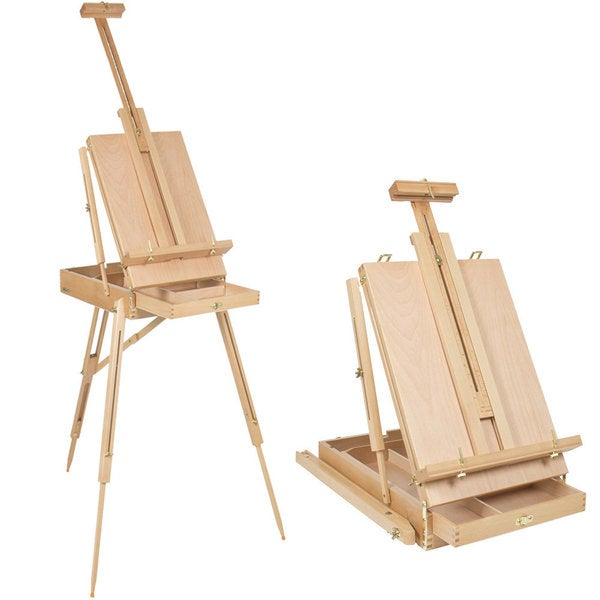 DHX-M Premium Red Beech Wood 50x34.5x150cm Portable Sketch Box Oil Painting Easel