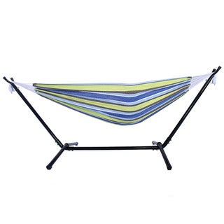 Portable Outdoor Green and Blue Striped Polyester Hammock Set