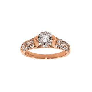 Eternally Haute 14k Rose Goldplated Cubic Zirconia Louvre Ring