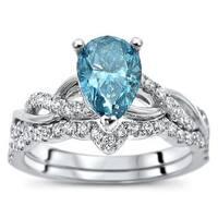 Noori 14k White Gold 1 2/5ct TDW Blue and White Diamond Bridal Set