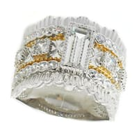 Michael Valitutti Sterling Silver Multi Shaped Cubic Zirconia Ring