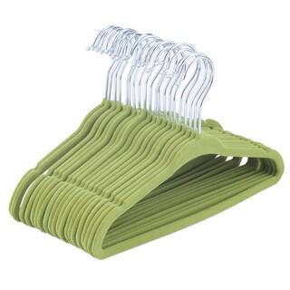 Kids' Green Velvet Flocking Non-Slip Clothes Hangers (Pack of 20)