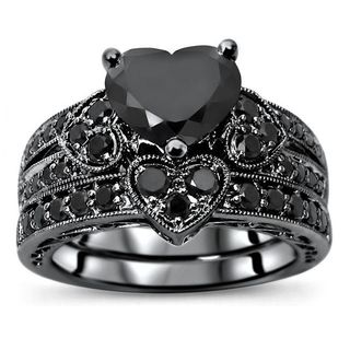 Noori Certified 14k Black Gold 2 1/6ct TDW Black Diamond Heart Bridal Set - White
