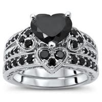 Noori 14k White Gold 2 1/6ct TDW Black Diamond Certified Heart Bridal Set