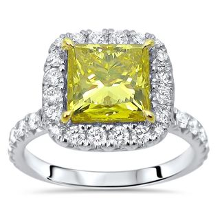 Certified Noori 18k White Gold 3ct TDW Yellow and White Princess-cut Engagement Ring
