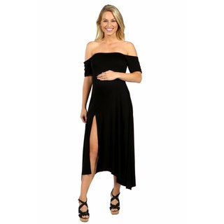 24/7 Comfort Apparel Star Sweep Off Shoulder Maternity Dress