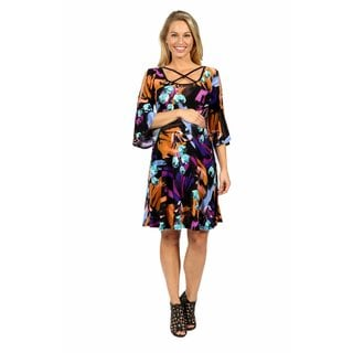 24/7 Comfort Apparel Wonderful Watercolors Criss Cross Maternity Dress