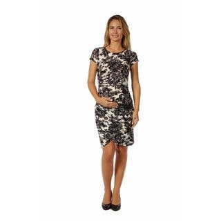 24/7 Comfort Apparel Women's Maternity Abstract Black& White Floral Mini Dress|https://ak1.ostkcdn.com/images/products/14780809/P21302667.jpg?impolicy=medium