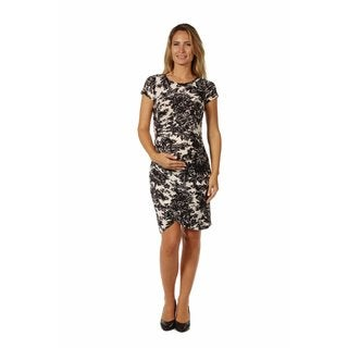 24/7 Comfort Apparel Women's Maternity Abstract Black& White Floral Mini Dress