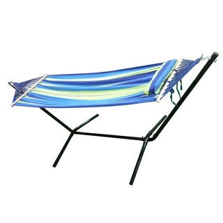 Portable Duckbilled Outdoor Polyester Hammock with Stand Blue & Green
