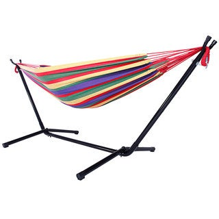 Portable Outdoor Red Striped Polyester Hammock Set
