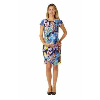 24/7 Comfort Apparel Women's Maternity Abstract Watercolor Dress|https://ak1.ostkcdn.com/images/products/14780824/P21302668.jpg?impolicy=medium