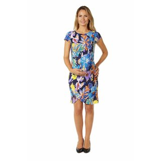24/7 Comfort Apparel Women's Maternity Abstract Watercolor Dress