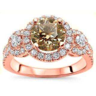 Certified Noori 14k Rose Gold 1 3/4 ct TDW Brown Round Diamond Engagement Ring