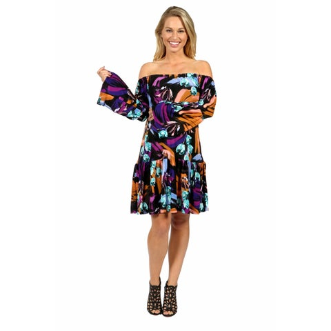 24/7 Comfort Apparel Lush Tropical Drama Maternity Party Dress