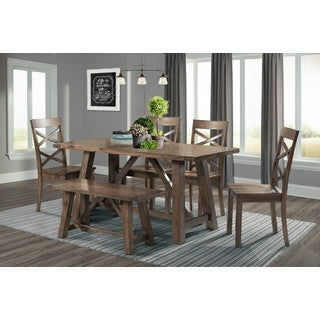 Picket House Furnishings Regan 6PC Dining Set-Table, 4 Dining Chairs & Dining Bench