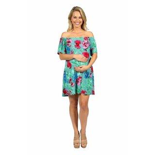 24/7 Comfort Apparel Beachside Garden Off Shoulder Maternity Dress
