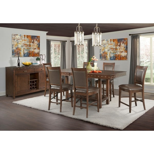 Picket House Furnishings Pruitt Counter 8PC Dining Set Table, 6 Counter Dining  Chairs U0026amp
