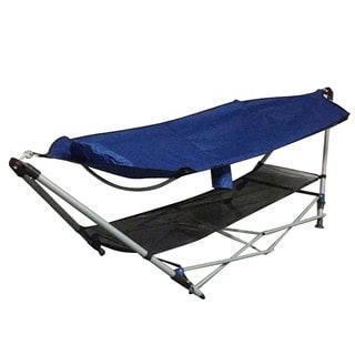 Foldable Leisure Enjoyment Royal Blue Outdoor Hammock and Hammock Stand Set