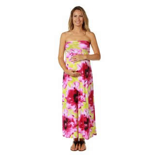 24/7 Comfort Apparel Women's Maternity Abstract Floral Tube Maxi Dress