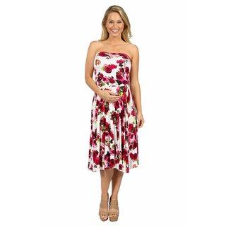 24/7 Comfort Apparel Sweet Climbing Rose Maternity Dress
