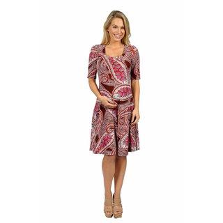 24/7 Comfort Apparel Pretty Paisley Maternity Dress