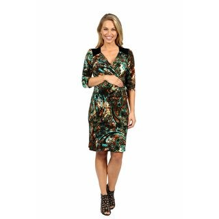 24/7 Comfort Apparel Peacock Pretty and Brilliant Style Maternity Faux Wrap Dress