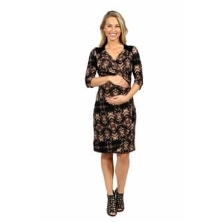 24/7 Comfort Apparel Unforgettable First Impression Maternity Faux Wrap Dress|https://ak1.ostkcdn.com/images/products/14780956/P21302755.jpg?impolicy=medium