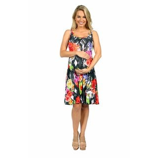 24/7 Comfort Apparel Floral Fireworks Maternity Mini Dress