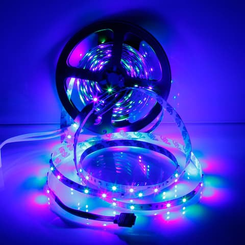 300-LED SMD3528 24W RGB IR44 Plastic Light Strip Set with IR Remote Controller and White Lamp Plate