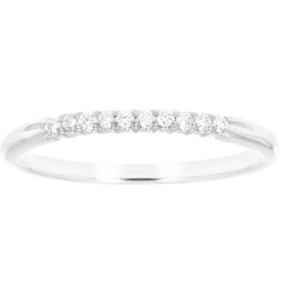 10k White Gold 1/10ct TDW White Diamond Petite Wedding Band - White I-J
