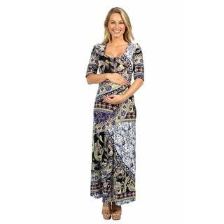 24/7 Comfort Apparel River Jewel Maternity Maxi Dress