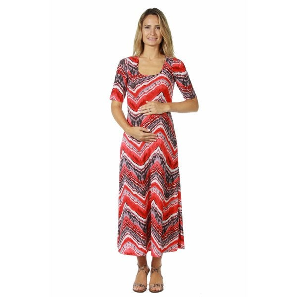 c871ea2ea54 Shop 24 7 Comfort Apparel Women s Maternity Red Grey Zig Zag Maxi ...