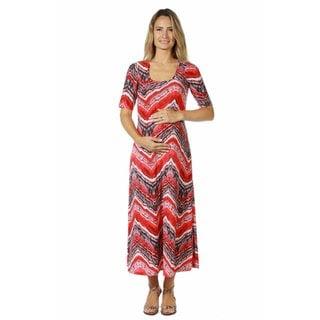 24/7 Comfort Apparel Women's Maternity Red Grey Zig Zag Maxi Dress
