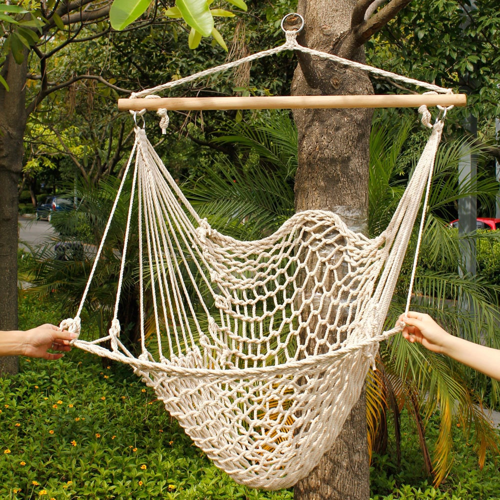Beige Cotton Rope Hanging Air/ Sky Chair Swing (Cotton Ha...