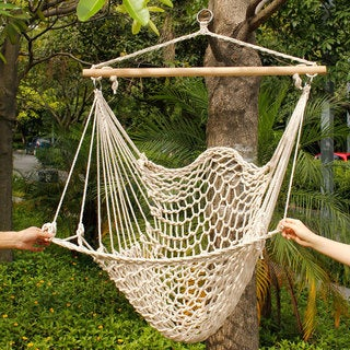 Beige Cotton Rope Hanging Air Chair Swing Hammock