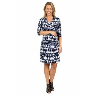 24/7 Comfort Apparel On Trend and Timeless Batik Faux Wrap Dress Maternity Size