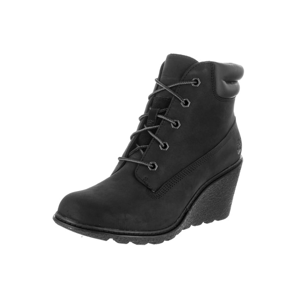 087b2ae850c3 Timberland Women  x27 s Amston Black Nubuck Leather 6-Inch Wedge Boot