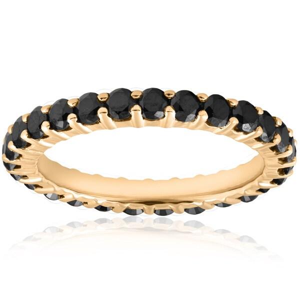 14k Yellow Gold 1 1/2ct TDW Black Diamond Eternity Wedding Ring Womens Stackable Band
