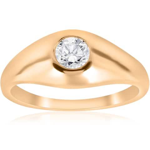 14K Yellow Gold 1/2 TDW Mens Diamond Solitaire Bezel High Polished Wedding Ring (I-J,I2-I3)