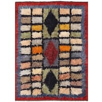 Herat Oriental Afghan Hand-knotted Vegetable Dye Shag Gabbeh Wool Rug (9'11 x 13'9)
