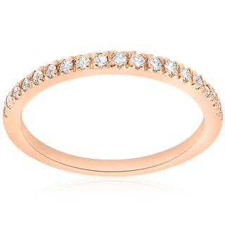 14K Rose Gold 1/4ct TDW Diamond Wedding Ring Stackable Band
