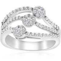 14k White Gold 3/4 ct TDW Diamond Multi Row Womens Anniversary Wide Right Hand Ring