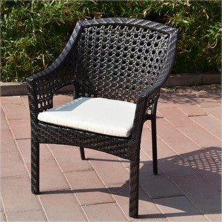 Adeco Brown Wicker Organic Patio Furniture Dining Chairs with Cushion