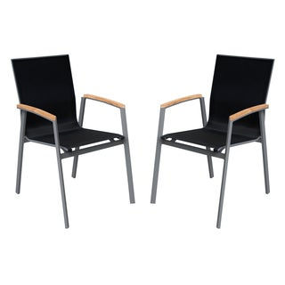 Armen Living Westport Outdoor Patio Dining Chair in Gray Powder Coated Finish with Teak Wood Accent Arms and Mesh - Set of 2