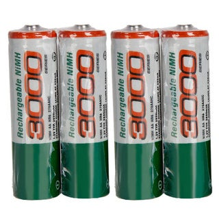 White 3000mAh 1.2V Ni-MH AA Rechargeable Batteries and Box (Case of 8)