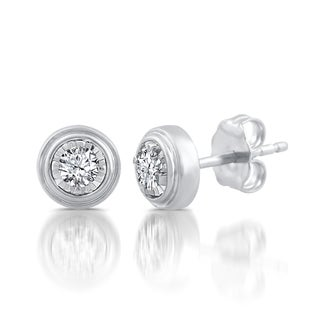 Sterling Silver, Gold over Silver 1/4ct TDW White Diamond Miracle Plate Studs