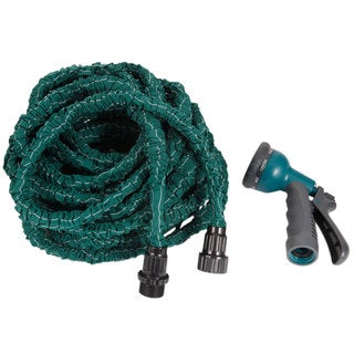 Dark Green 100FT Stretchable Garden Hose with Spray Nozzle (US Standard Connector)